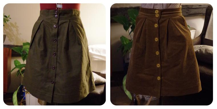 Left: Green gabardine - Basic PatternRight: Brown Corduroy - Changed the pockets