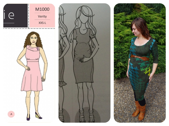 Moxiepatterns Verity Dress + Ruched Maternity Mash-Up