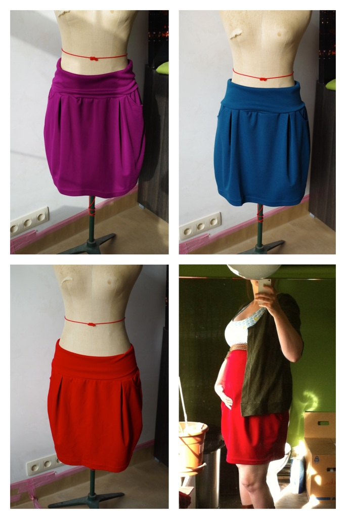 The skirts I made with a wide knit band and an outfit I was able to wear before it got cold.